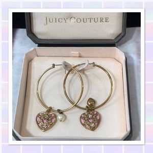 Juicy Couture Pink and Gold Hoop Earrings